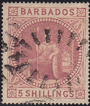 Barbados SG64 5/- Rose used