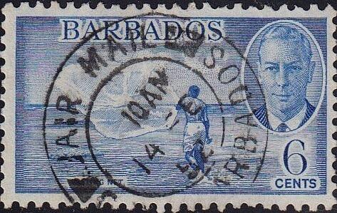 Barbados SG275 George VI 6c stamp 'Casting net'