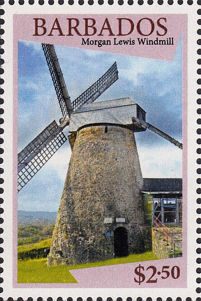 Barbados stamps - Windmills of Barbados - $2.50 stamp Morgan Lewis Windmill