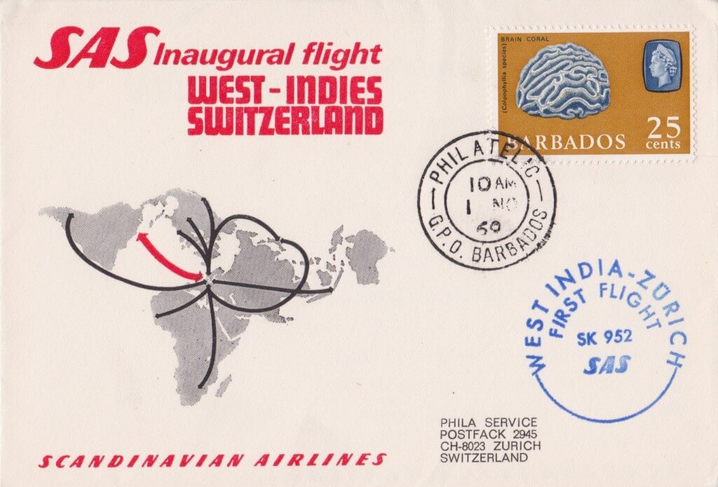Switzerland to Barbados First Flight Cover