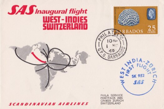 Switzerland to Barbados First Flight Cover 1969