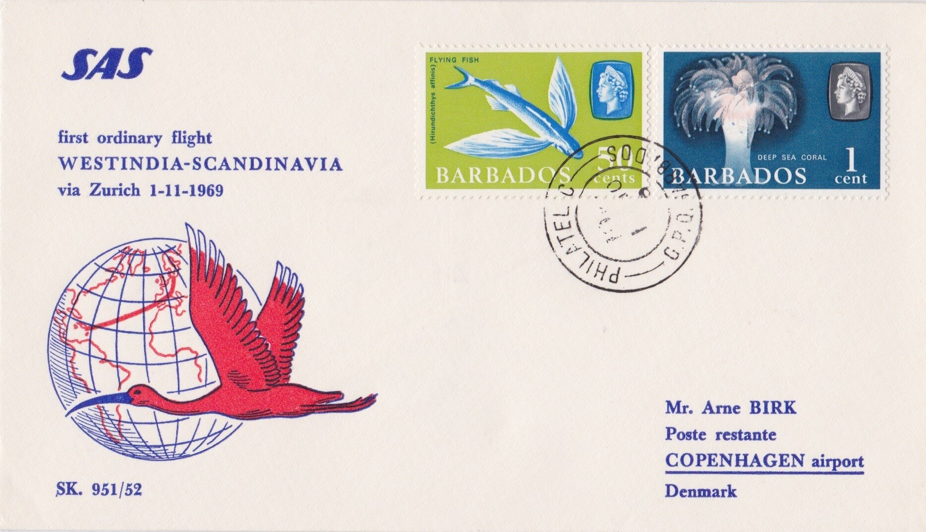 Denmark to Barbados First Flight Cover 1969