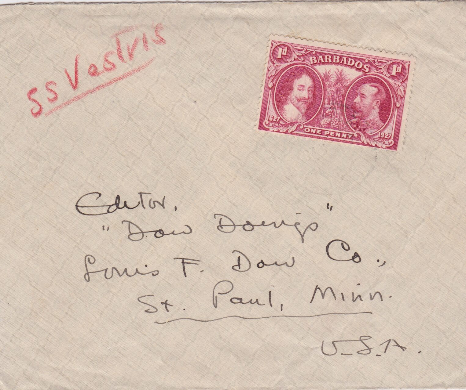 Barbados 1927 Cover to St Paul, Minnesota, USA