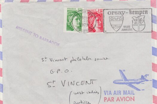 Missent To Barbados cancel on French Cover to St Vincent 1979