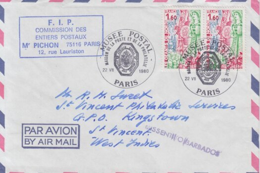 Missent To Barbados cancel on French Cover to St Vincent