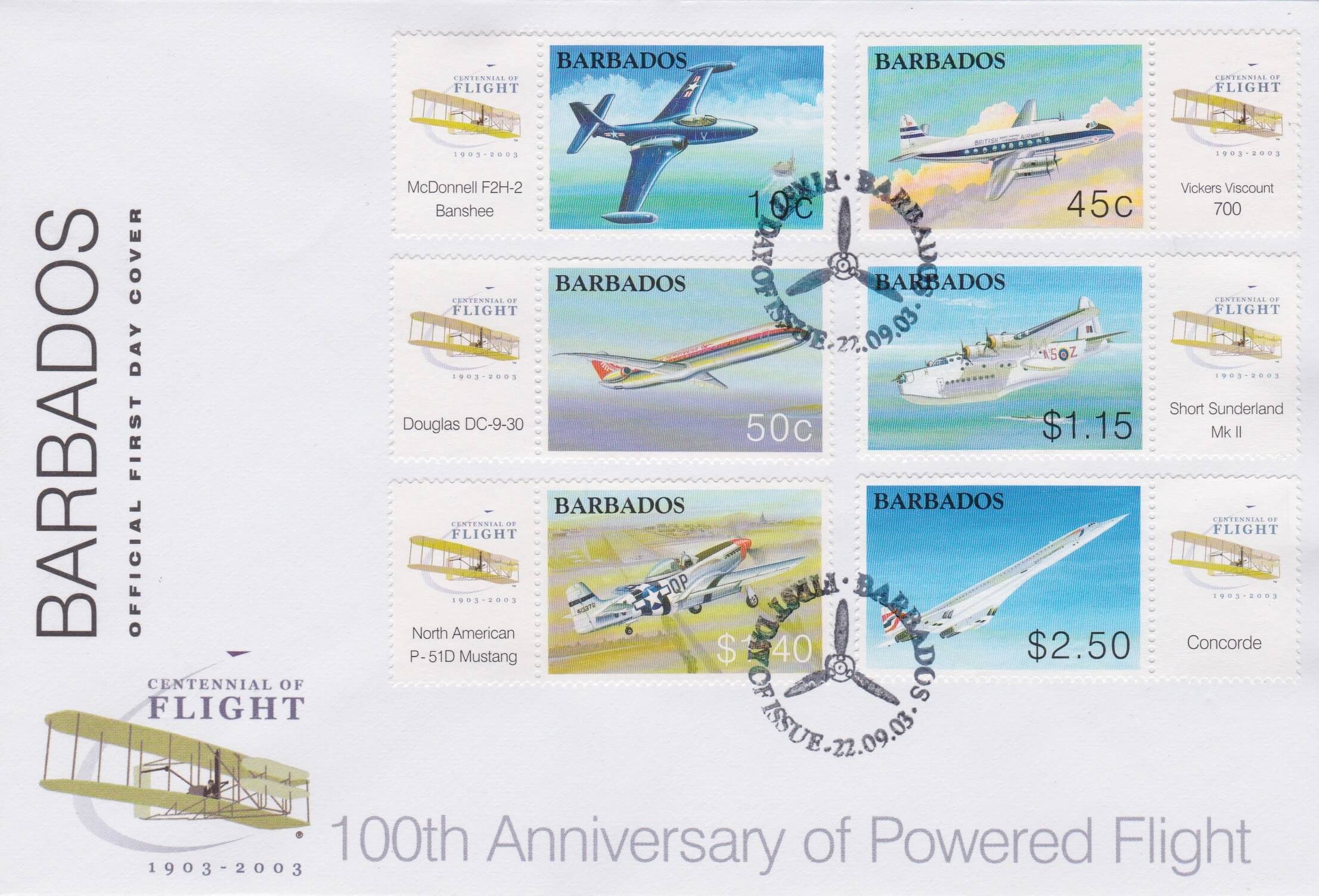 Barbados 100th Anniversary of Powered Flight FDC