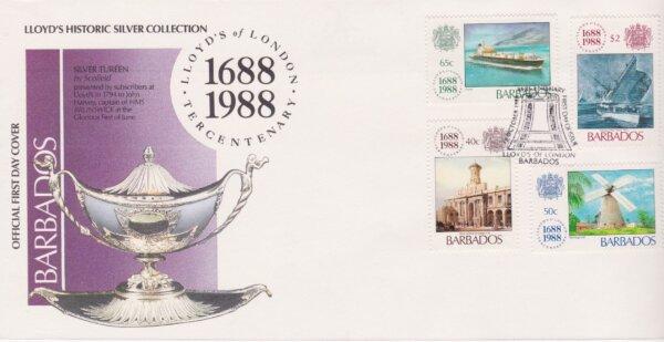 Barbados 1988 Lloyds of London Tercentenary FDC