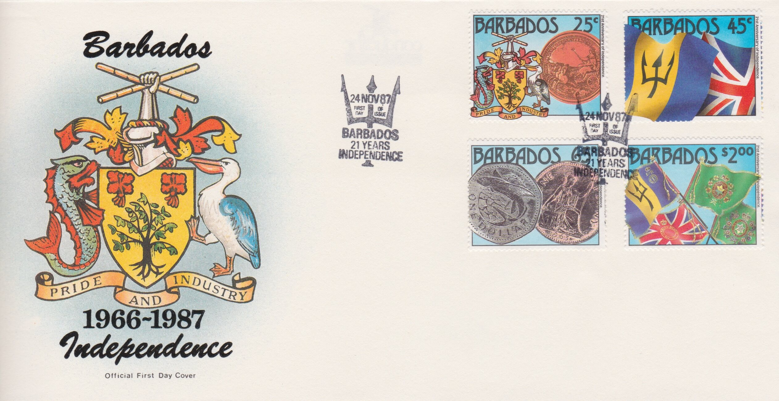Barbados 21st Anniversary of Independence FDC