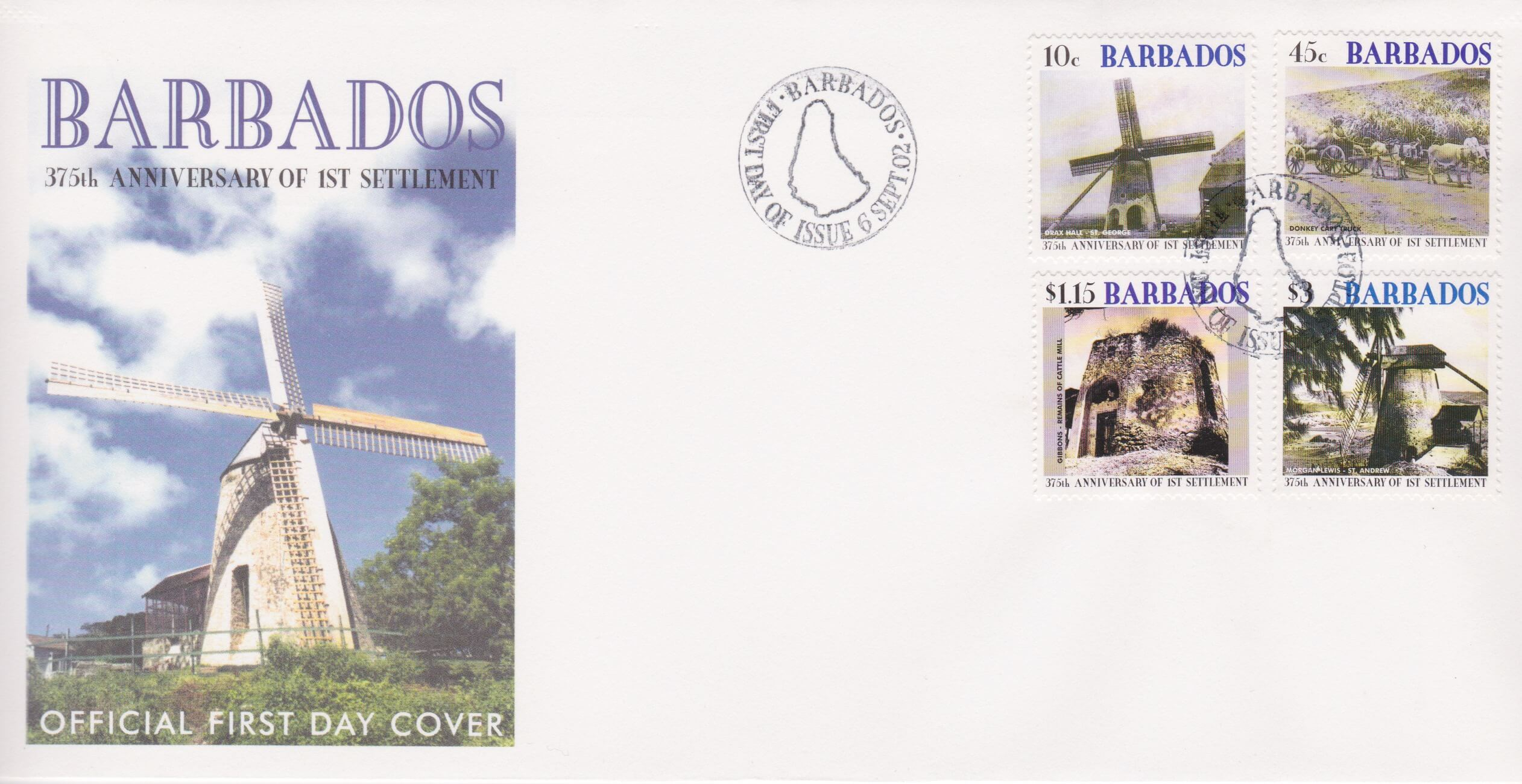 Barbados 375th Anniversary of the 1st Settlement FDC