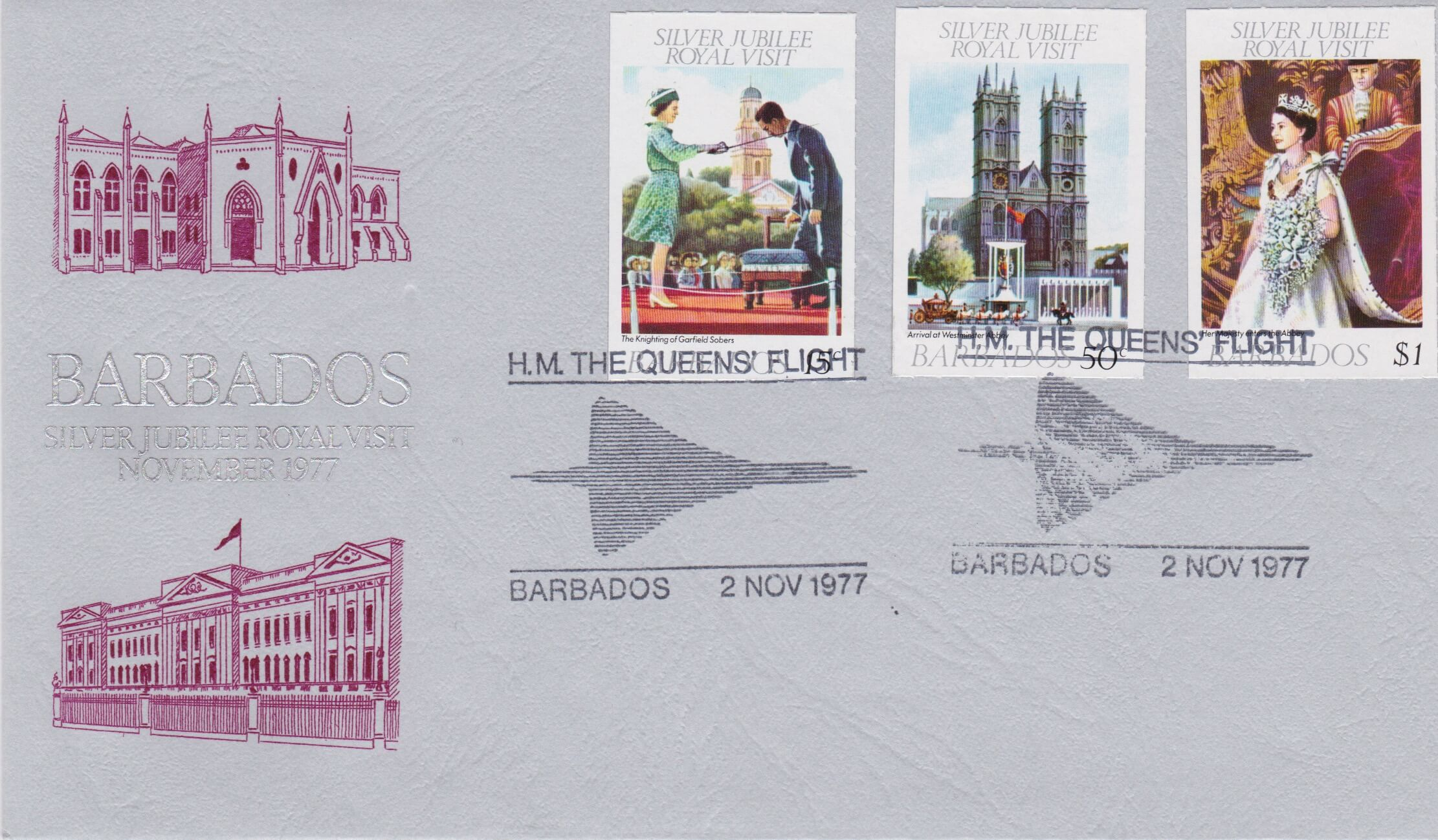 Barbados Queen's Silver Jubilee 1977 Concorde flight cover