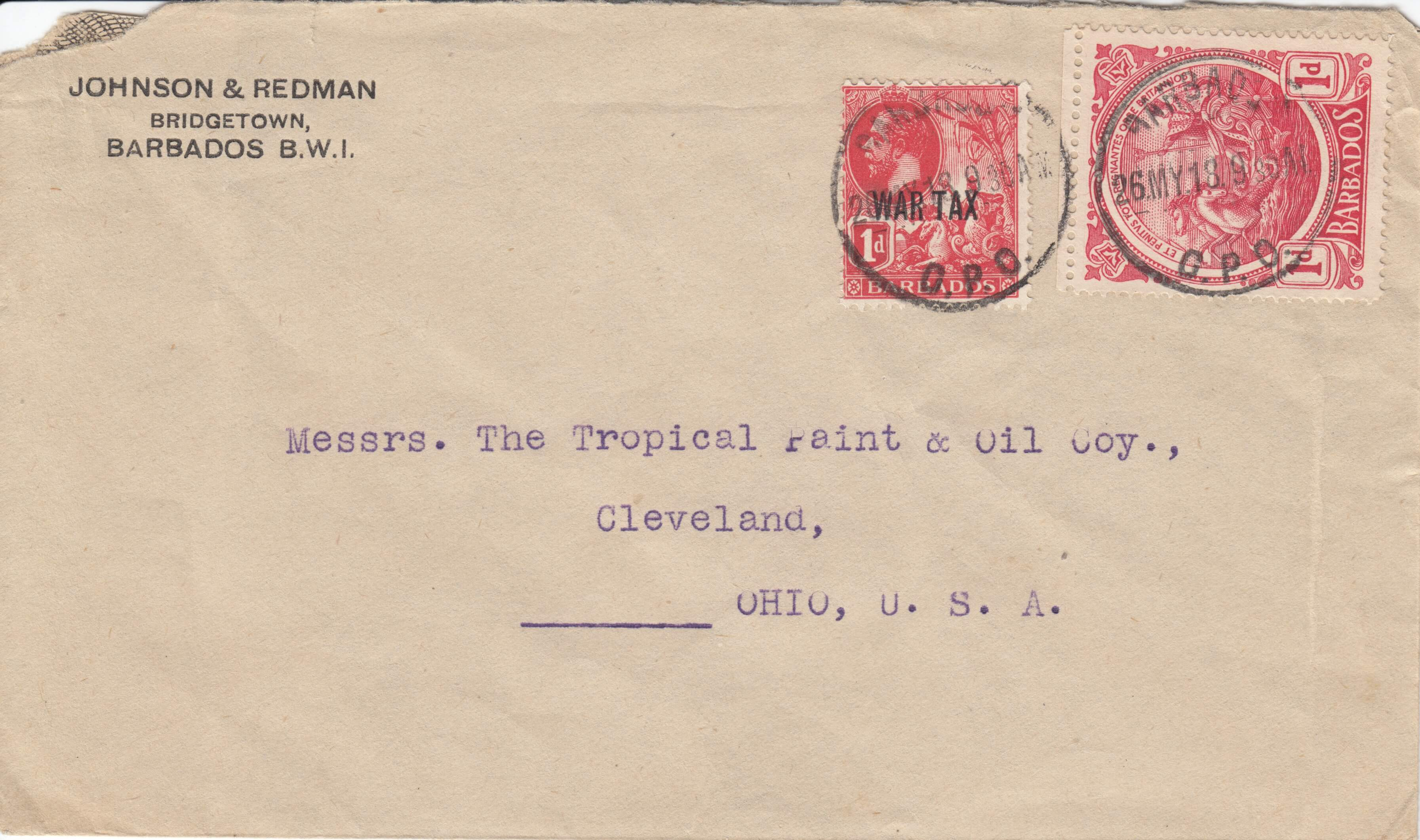 Possible Barbados booklet stamp on cover