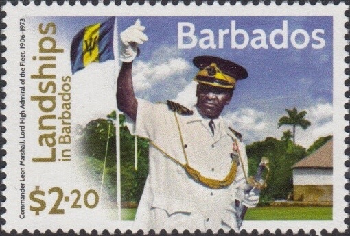 Landships of Barbados - $2.20 stamp - Commander Leon Marshall Lord High Admiral of the Fleet 1906-1973