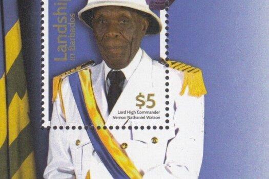 Landships of Barbados - $5.00 mini sheet - Lord High Commander Vernon Nathaniel Watson