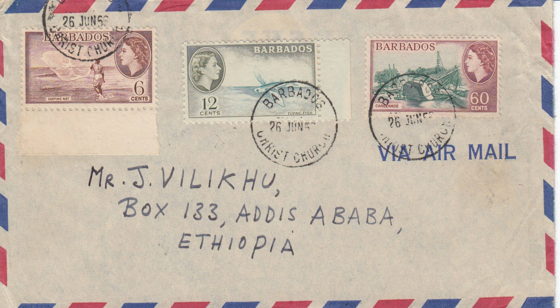 Barbados to Adis Ababa airmail cover