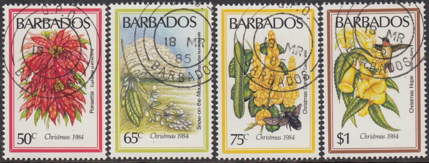 Barbados SG755-758 | Christmas Flowers 1984
