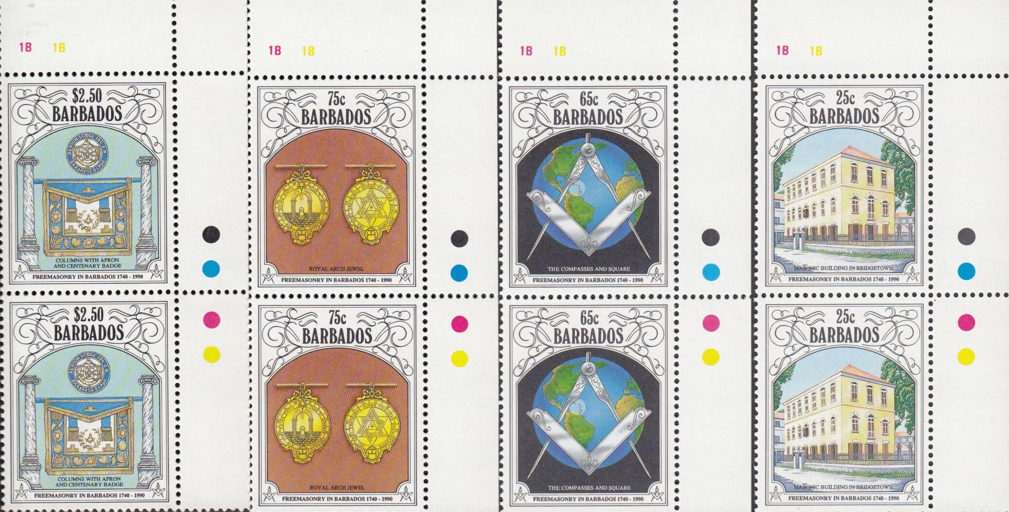 Barbados SG 956-959 | 250th Anniversary of Freemasonry in Barbados