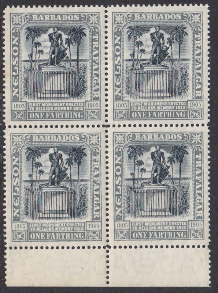 Barbados SG158 | 1/4d Nelson Centenary Wmk Crown CA