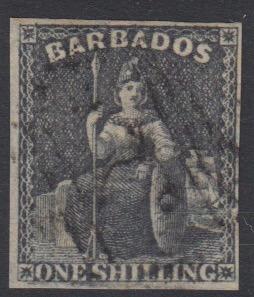 Barbados SG12a | 1/- Black