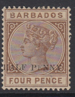 Barbados SG104a | 1/2d on 4d Deep Brown - no hyphen