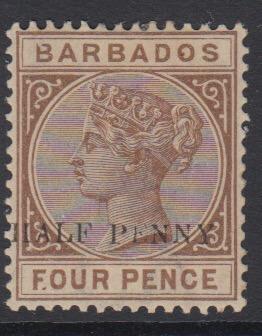Barbados SG104a | 1/2d on 4d Deep Brown - no hyphen