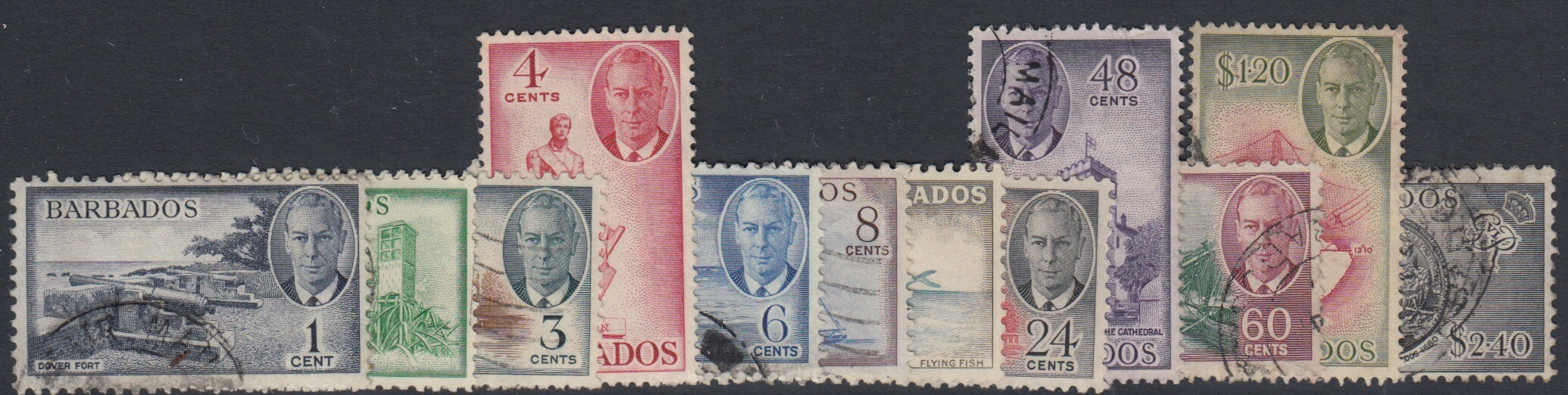 Barbados SG 271-282 | George VI definitives