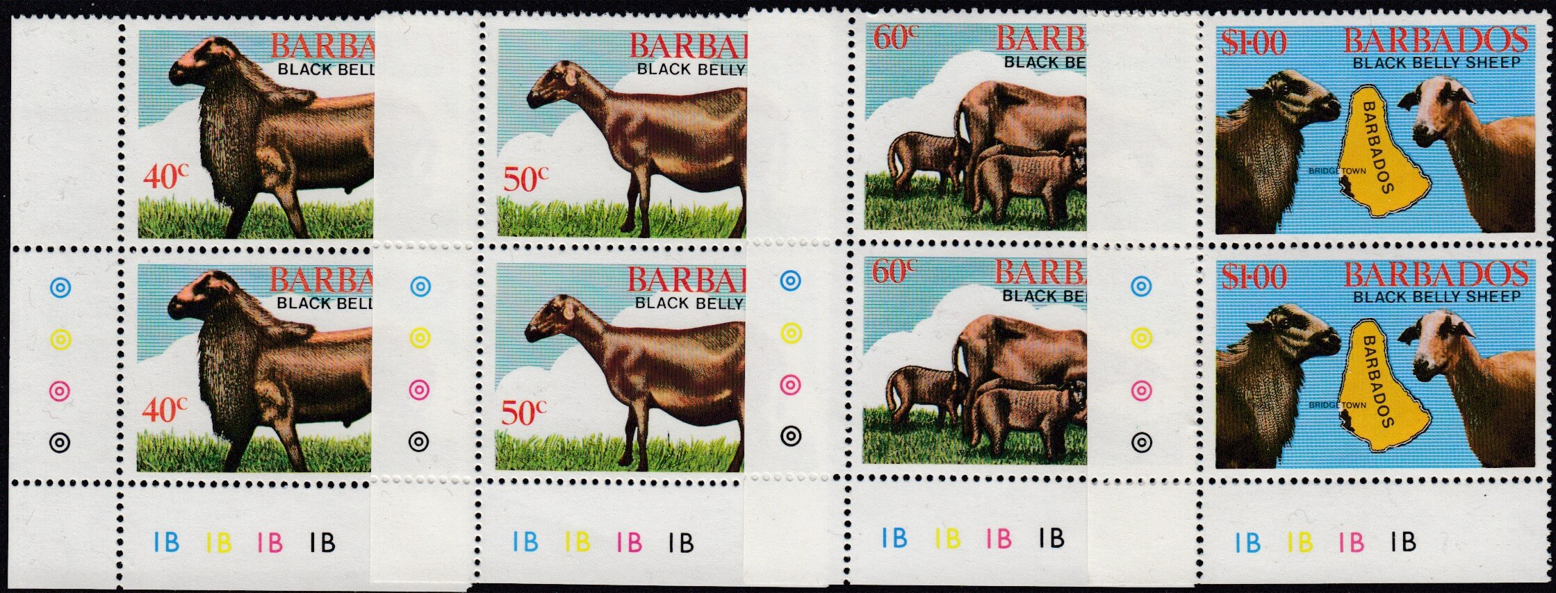 Barbados SG693-696 | Black Belly Sheep Corner Pairs
