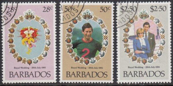 Barbados SG674-676 | Royal Wedding 1981