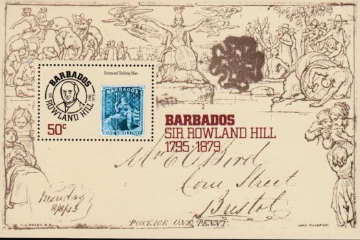 Barbados SGMS620 | Death Centenary of Sir Rowland Hill mini sheet
