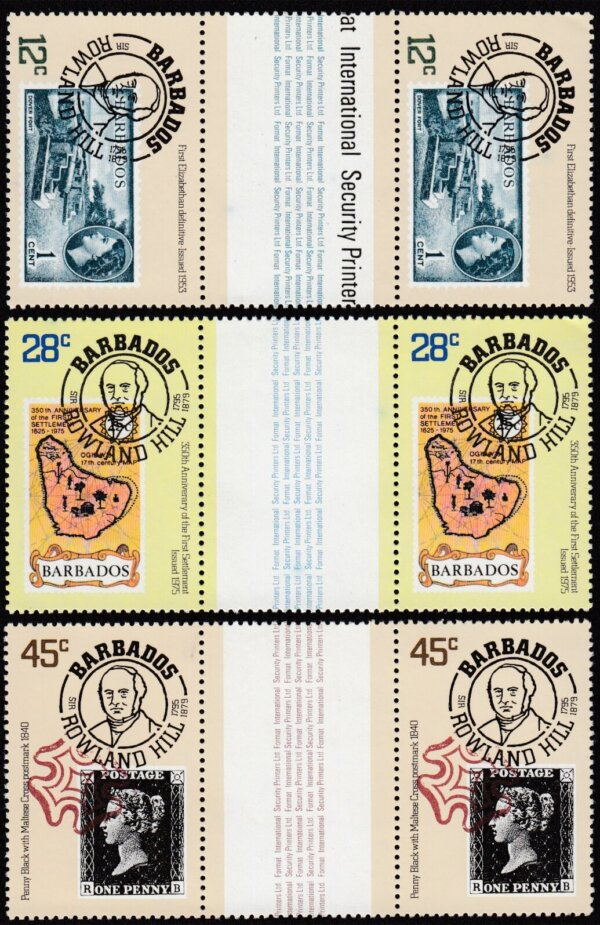 Barbados SG617-619 | Death Centenary of Sir Rowland Hill Gutter Pairs