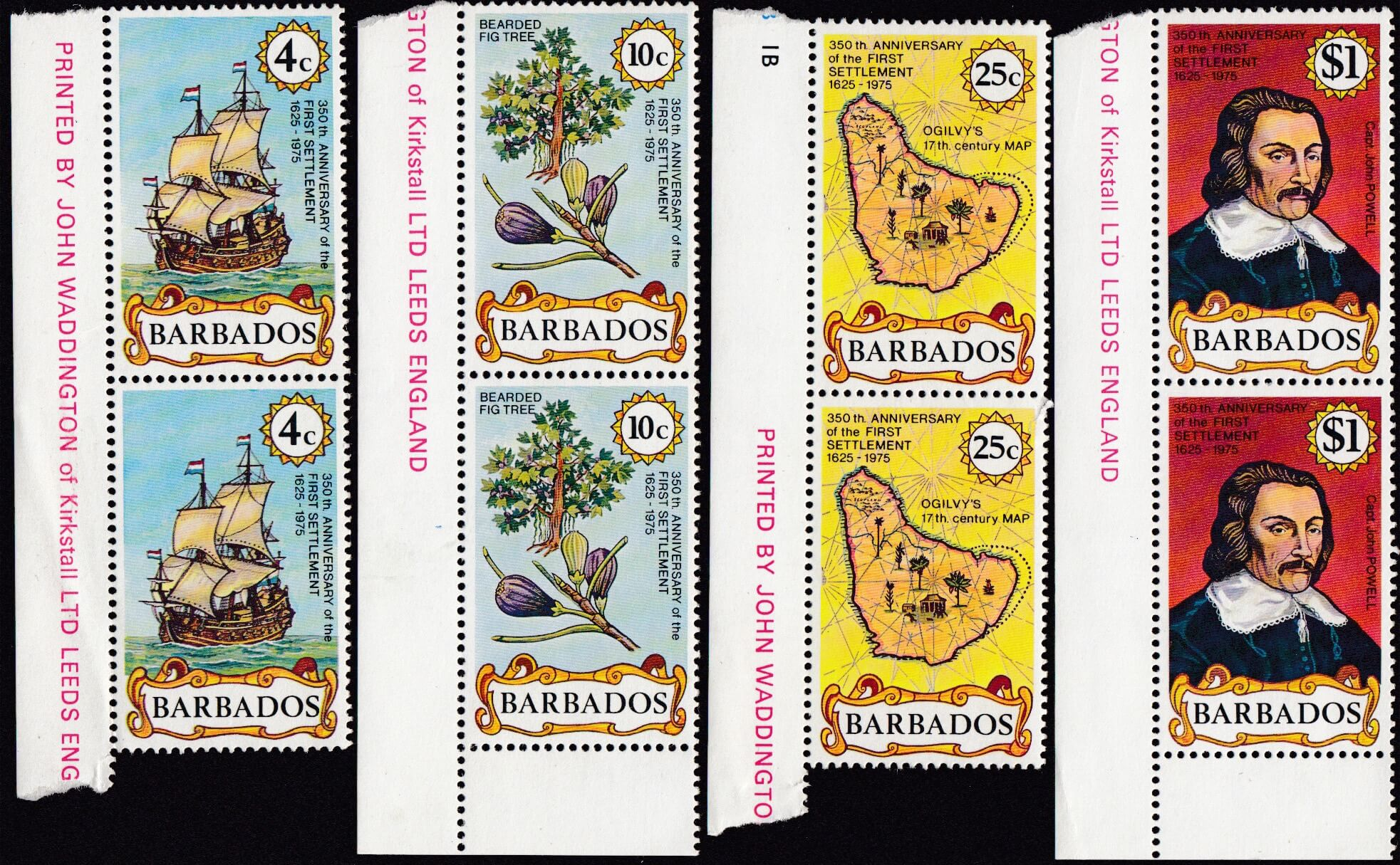 Barbados 538-541   350th Anniversary of First Settlement