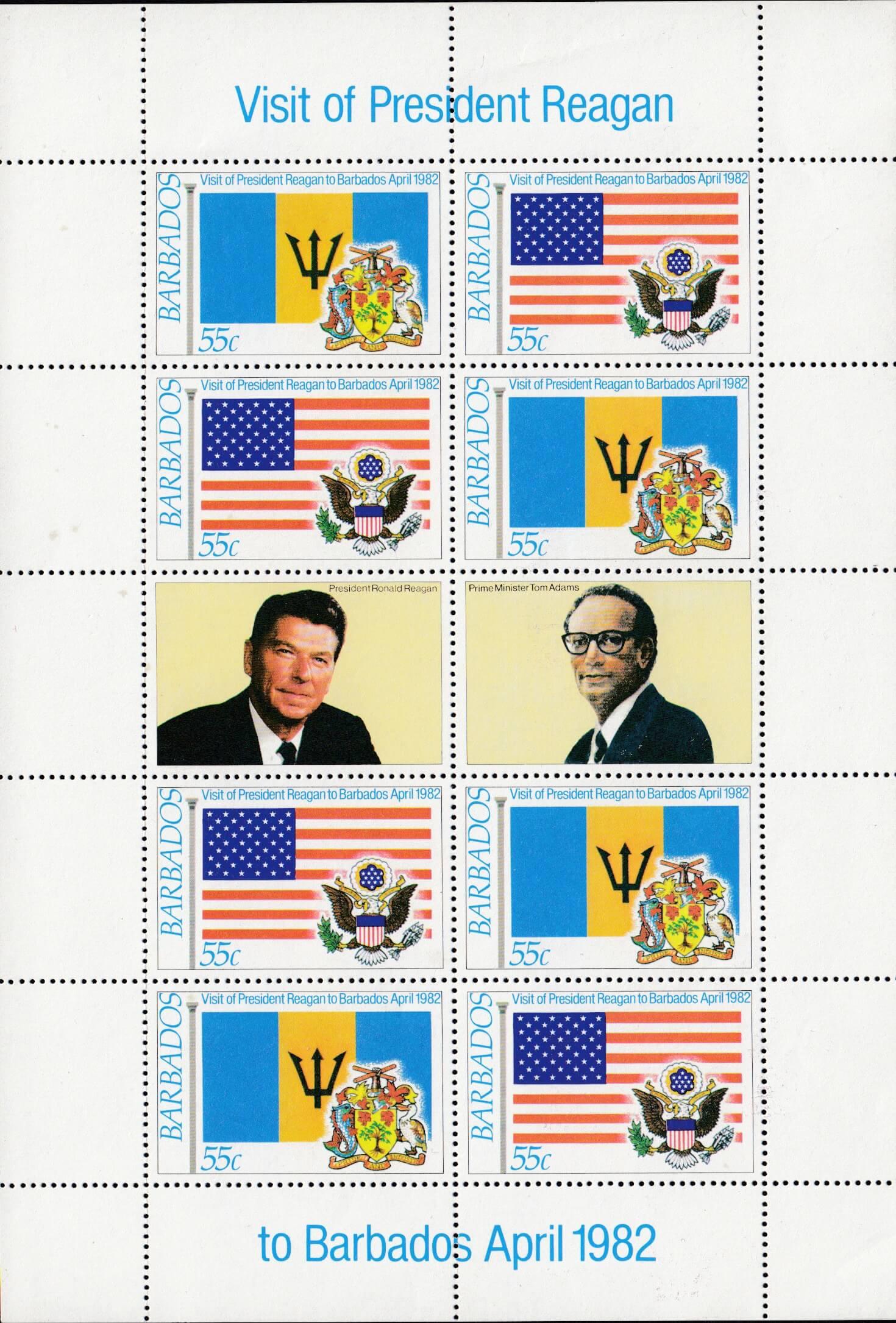 Barbados SG697-700 | President Reagan's Visit minisheet
