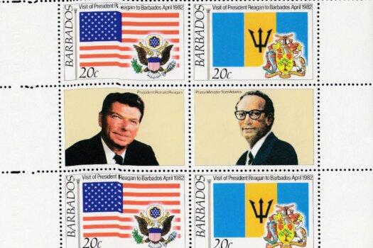Barbados SG697-700   President Reagan's Visit minisheet