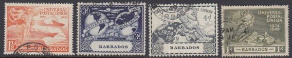 Barbados SG267-270   75th Anniversary of Universal Postal Union (UPU) 1949 (Used)