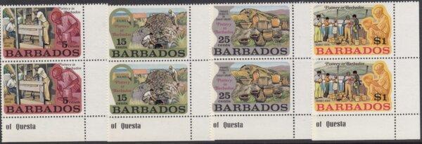 Barbados SG468-471 | Pottery in Barbados marginal pairs