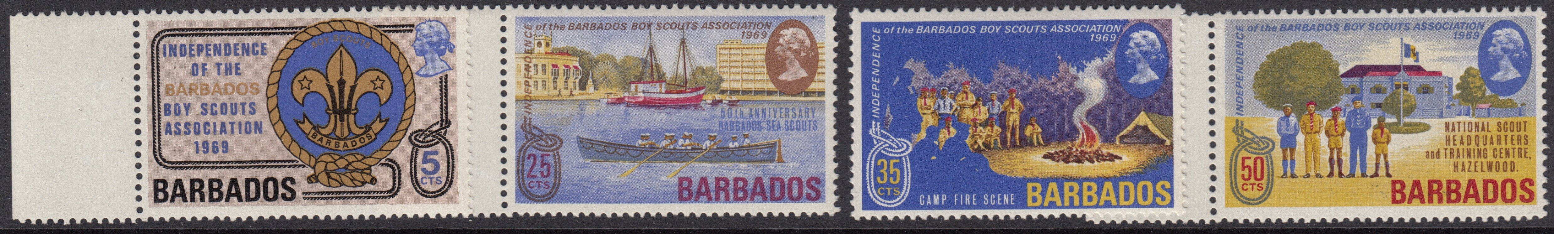 Barbados SG393-396 | Independence of Barbados Boy Scouts Association and 50th Anniversary of Barbados Sea Scouts