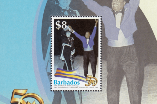 Barbados Stamps 50th Anniversary of Independence $8.00 mini sheet – Errol Walton Barrow celebrating Independence in 1966