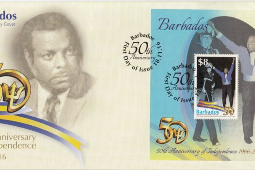 Barbados Stamps 50th Anniversary of Independence $8.00 mini sheet First Day Cover – Errol Walton Barrow celebrating Independence in 1966