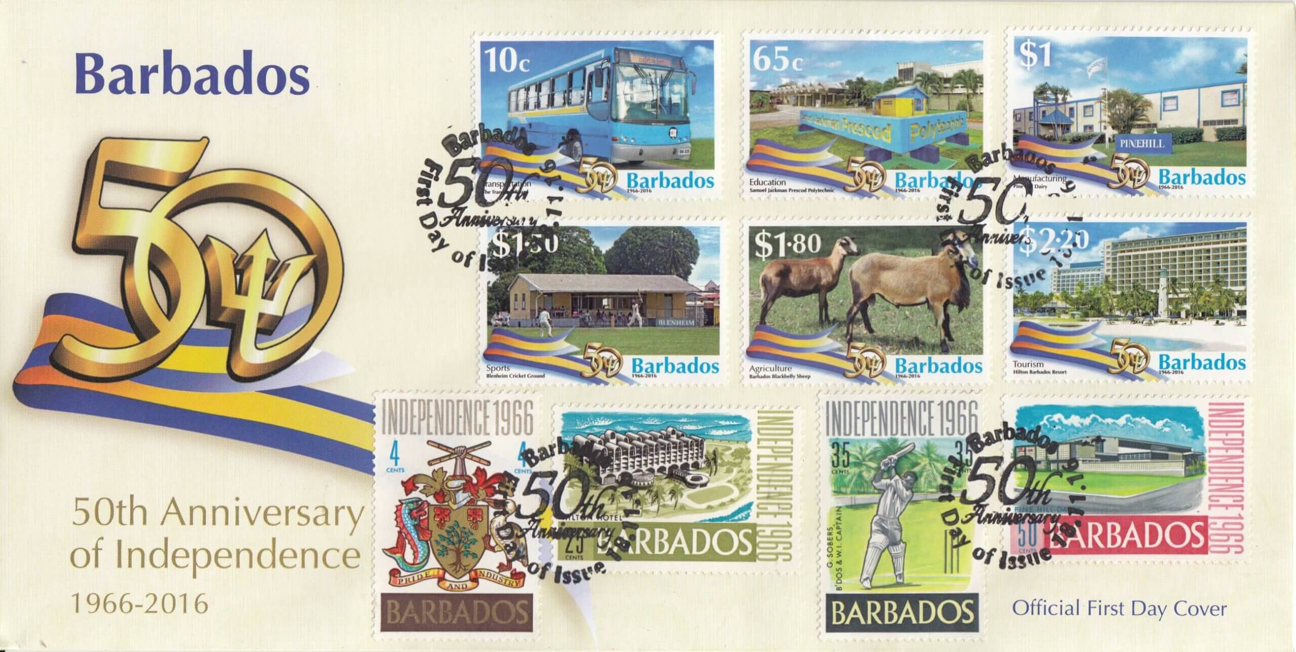 Barbados 50th Anniversary of Independence double dated First Day Cover