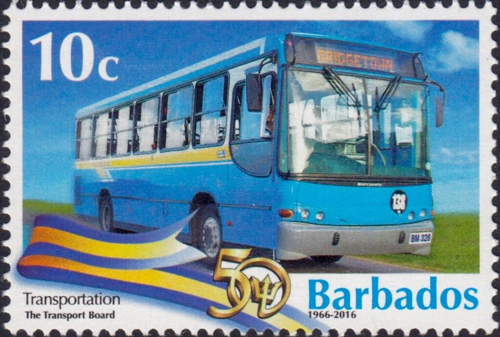 Barbados Stamps 50th Anniversary of Independence 10c stamp – Transportation