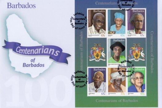 Centenarians of Barbados Souvenir Sheet First Day Cover