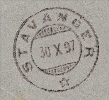 Stavanger receiving mark 30th October 1897