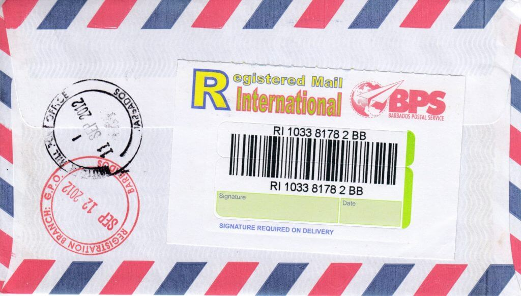 Barbados Registered Cover 2012