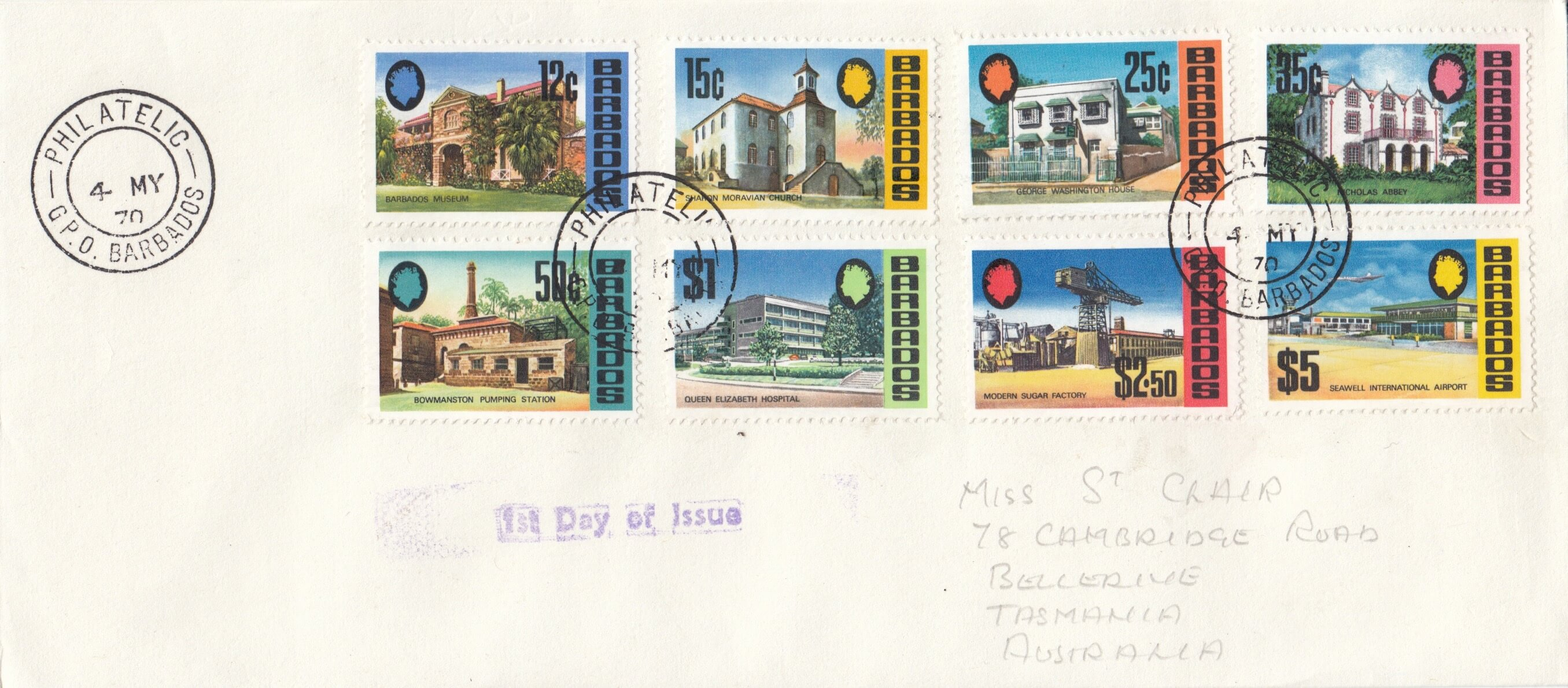 Barbados Definitive issue 1970 First Day Cover