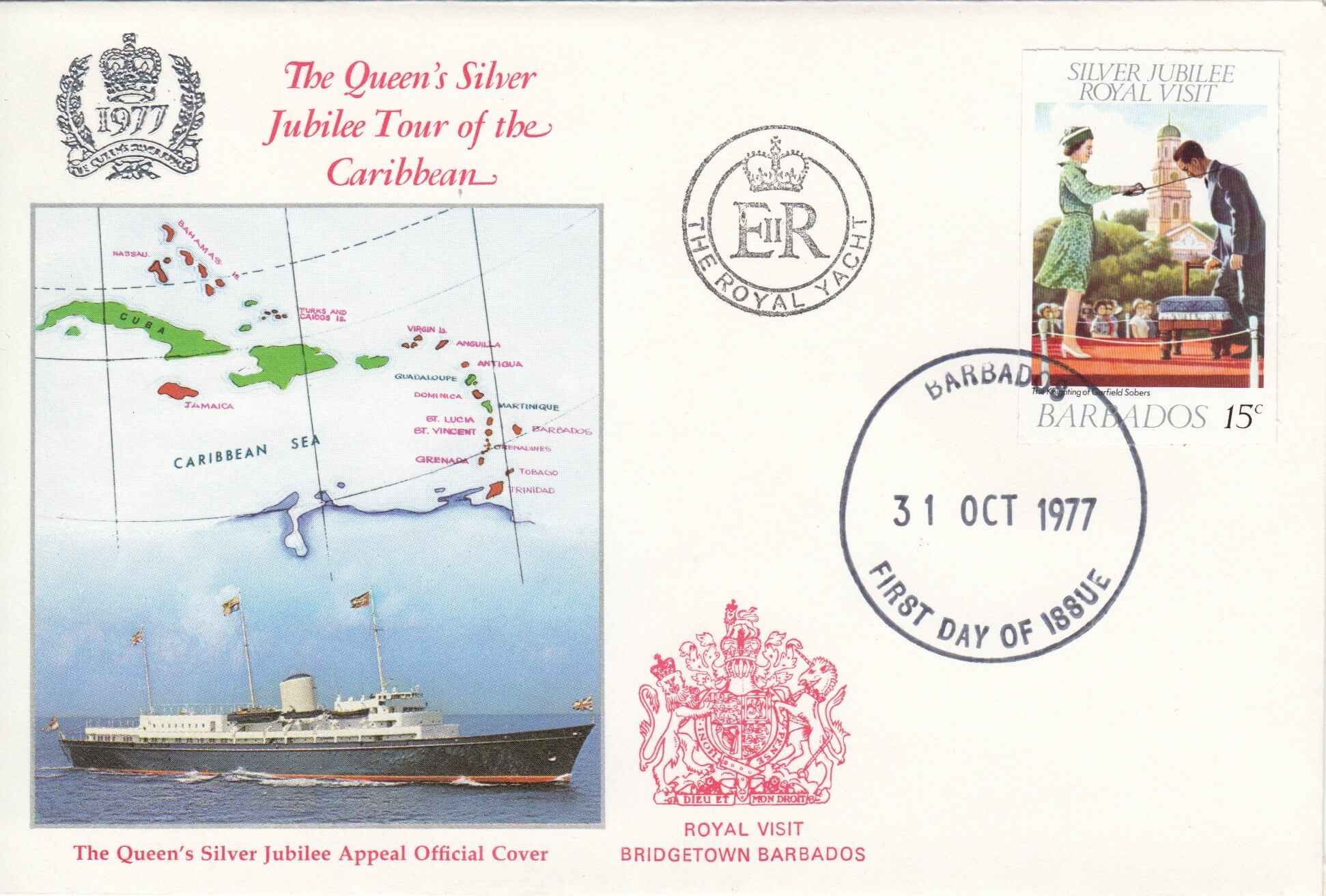 The Queens Silver Jubilee Tour of the Caribbean Commemorative Cover 1977