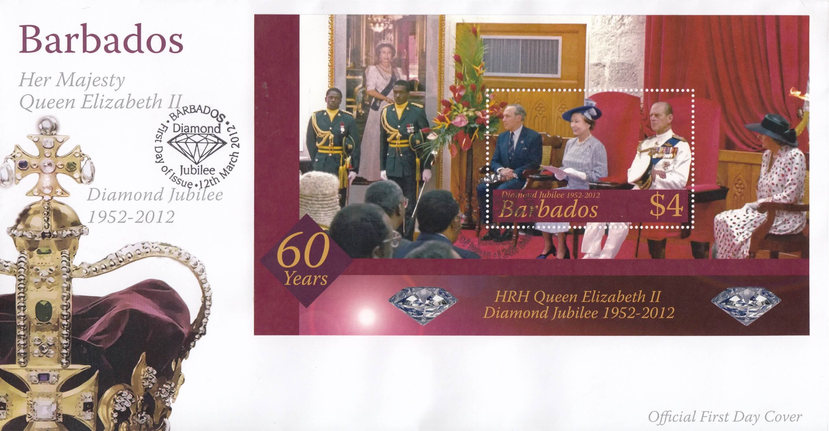 Barbados 2012 HRH Queen Elizabeth II Diamond Jubilee Mini Sheet FDC