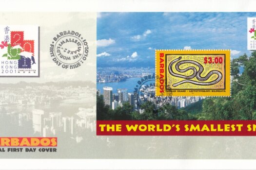 Barbados 2001 Hong Kong 2001 Stamp Exhibition Mini Sheet FDC