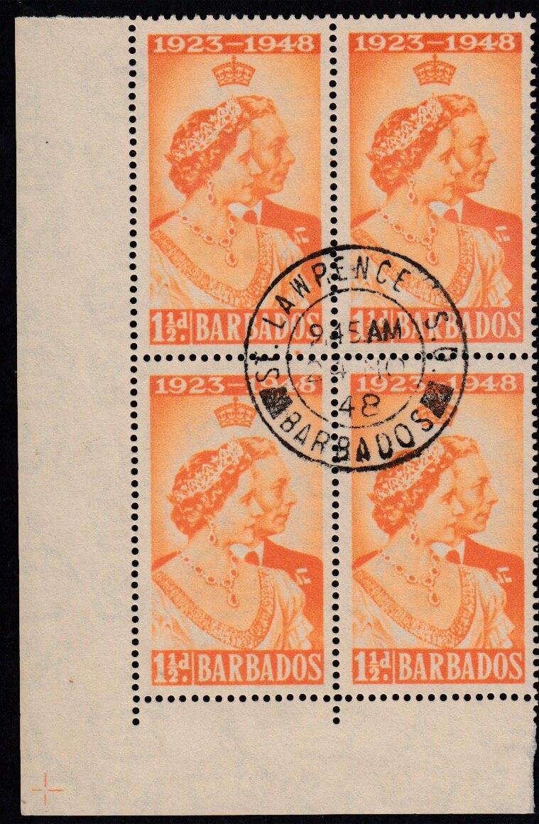 Barbados Royal Silver Wedding 1½d stamp block SG265