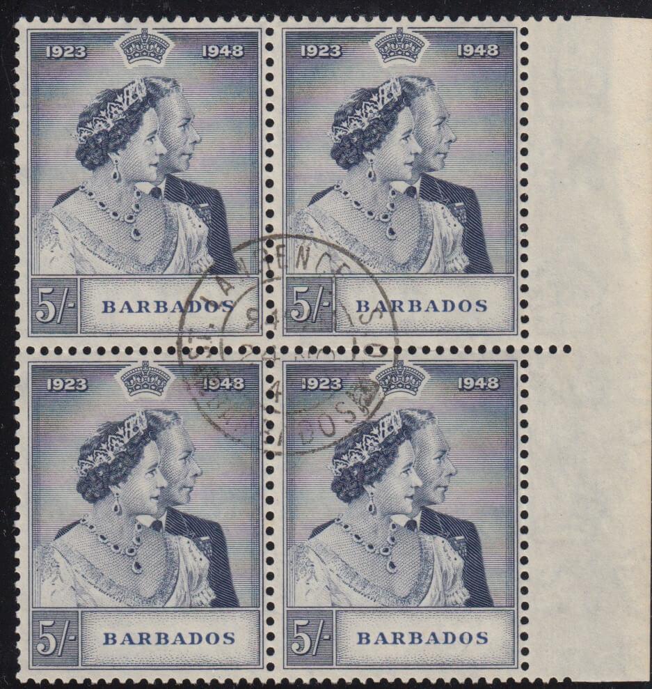 Barbados Royal Silver Wedding 5/- stamp block SG266