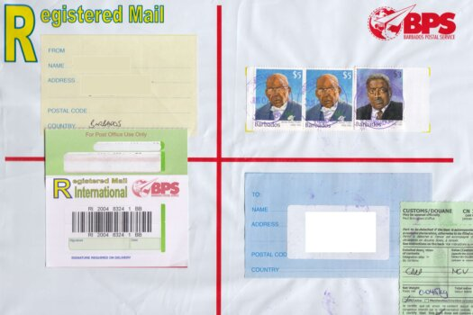 Registered Letter with Warrens, St Michael, Barbados counter cancel