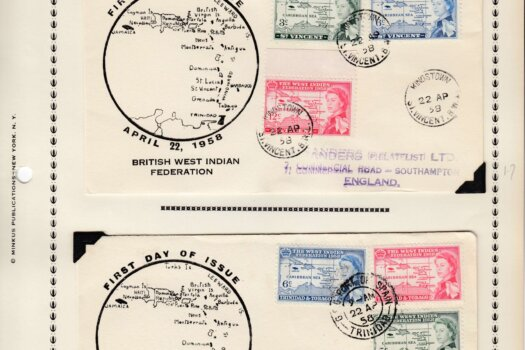 British West Indies Federation First Day Covers - St Vincent & Trinidad